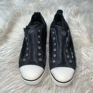 UGG Laela Sequin Suede Black Slip On Sneakers